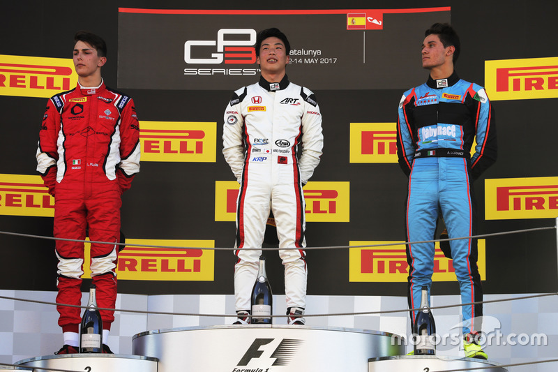 Podium : le vainqueur Nirei Fukuzumi, ART Grand Prix, le deuxième, Leonardo Pulcini, Arden International, le troisième, Alessio Lorandi, Jenzer Motorsport