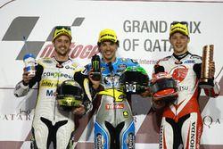 Podium; segundo, Thomas Luthi, CarXpert Interwetten; Race winner ranco Morbidelli, Marc VDS,; tercer
