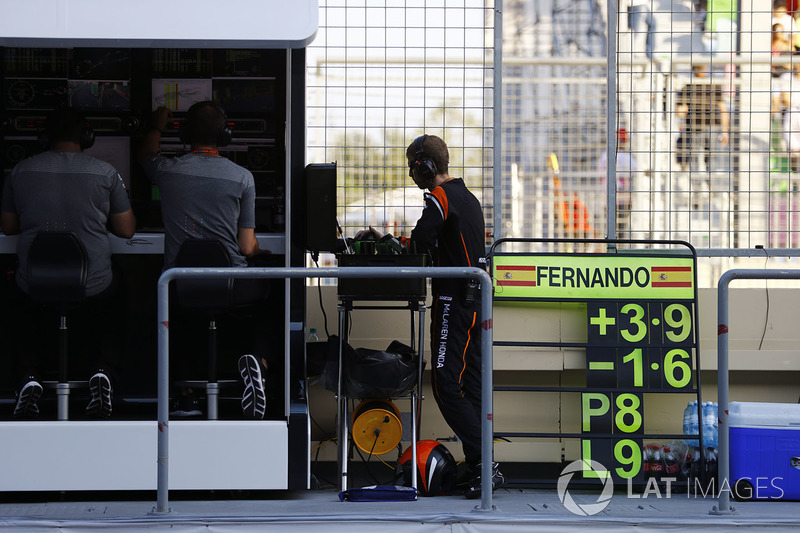 La pit board di Fernando Alonso, McLaren