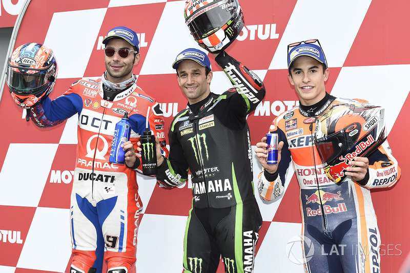 Polesitter Johann Zarco, Monster Yamaha Tech 3, second place Danilo Petrucci, Pramac Racing, third place Marc Marquez, Repsol Honda Team