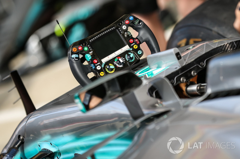 The steering wheel detail of Mercedes-Benz F1 W08