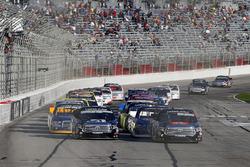 Christopher Bell, Kyle Busch Motorsports Toyota leads Kyle Busch, Kyle Busch Motorsports Toyota on a restart