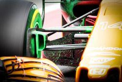 Flujo sobre la pintura del McLaren MCL32 de Fernando Alonso, McLaren