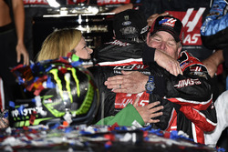 Kurt Busch, Stewart-Haas Racing Ford, celebrates after winning the Daytona 500 with crew chief Tony Gibson