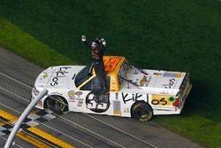 Kaz Grala, GMS Racing Chevrolet celebrates his win with a burnout