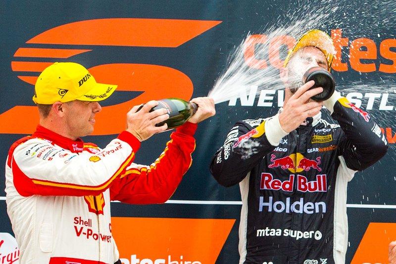 1. Shane van Gisbergen, Triple Eight Race Engineering Holden, 2. Scott McLaughlin, DJR Team Penske Ford