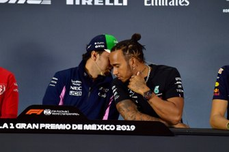 Sergio Perez, Racing Point and Lewis Hamilton, Mercedes AMG F1 in the Press Conference