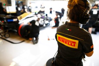 Pirelli engineer in the Haas F1 garage.