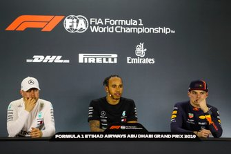 Valtteri Bottas, Mercedes AMG F1, pole man Lewis Hamilton, Mercedes AMG F1, and Max Verstappen, Red Bull Racing, in the post Qualifying Press Conference