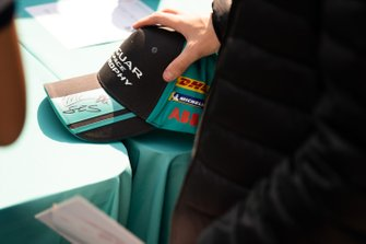 A fan's signed cap at the autograph session