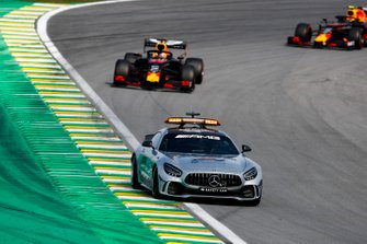Max Verstappen, Red Bull Racing RB15 and Alexander Albon, Red Bull RB15 behind the Safety Car