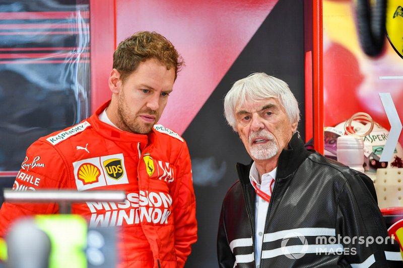 Sebastian Vettel, Ferrari, e Bernie Ecclestone, Presidente emerito della Formula 1