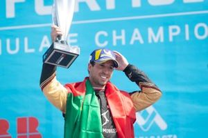 Antonio Felix da Costa, DS Techeetah, 2nd position, celebrates on the podium