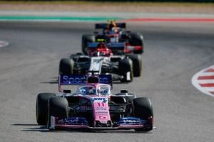 sSergio Perez, Racing Point RP19, leads Antonio Giovinazzi, Alfa Romeo Racing C38, and Alex Albon, Red Bull Racing RB15