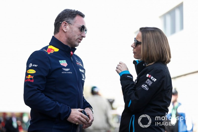 Christian Horner, Team Principal, Red Bull Racing, talks with Claire Williams, Deputy Team Principal, Williams Racing