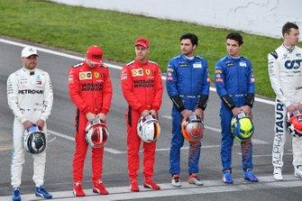 Valtteri Bottas, Mercedes-AMG Petronas F1, Charles Leclerc, Ferrari, Sebastien Vettel, Ferrari, Carlos Sainz, McLaren, Lando Norris, McLaren and Daniel Kvyat, AlphaTauri line up on the track