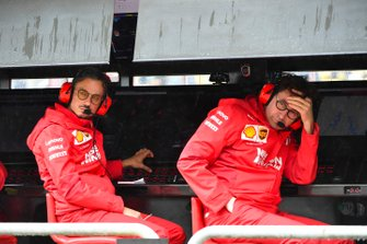 Laurent Mekies, Sporting Director, Ferrari, and Mattia Binotto, Team Principal Ferrari, on the pit wall