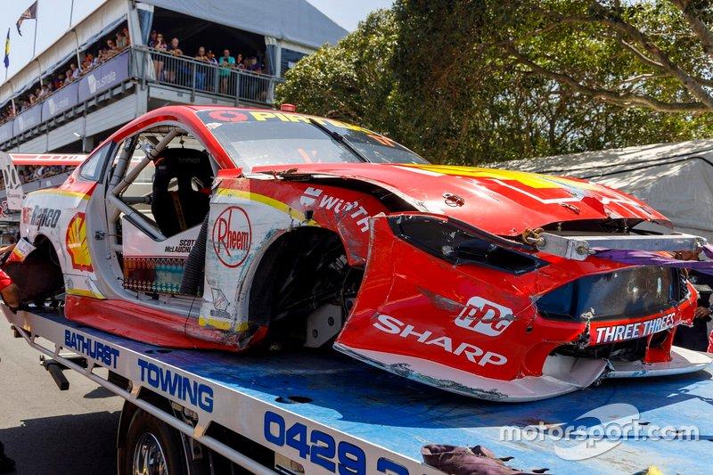 The crashed car of Scott McLaughlin, DJR Team Penske Ford