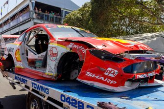 The crashed car of Scott McLaughlin, DJR Team Penske Ford