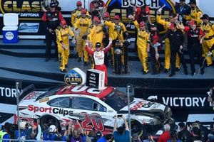 Erik Jones, Joe Gibbs Racing, Toyota Camry DeWalt celebrates his win