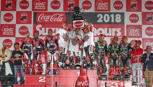 Podium: #33 Red Bull Honda: Takaaki Nakagami, Takumi Takahashi, PJ Jacobsen, #21 Yamaha Factory Racing Team: Michael van der Mark, Alex Lowes, Katsuyuki Nakasuga. #11 Kawasaki Team Green: Jonathan Rea, Leon Haslam, Kazuma Watanabe