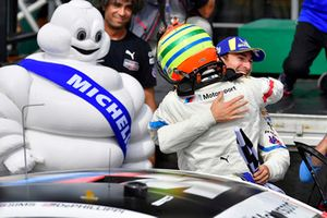 #25 BMW Team RLL BMW M8, GTLM - Alexander Sims, Connor de Phillippi celebrate the win in victory lane