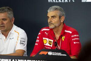 Maurizio Arrivabene, Team Principal, Ferrari, nella conferenza stampa