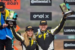 Mikaela Ahlin-Kottulinsky, JBXE Extreme-E Team, and Kevin Hansen, JBXE Extreme-E Team, 3rd position, with their trophies on the podium