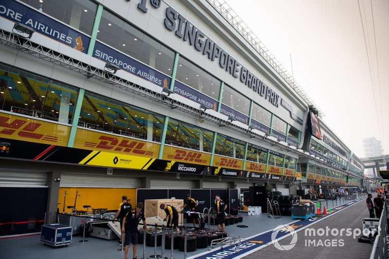 The Renault pit garages in the pit lane