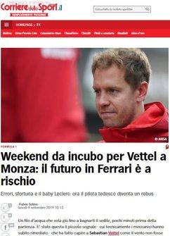 Imprensa Italiana destaca Charles Leclerc e questiona Sebastian Vettel - Corriere dello Sport