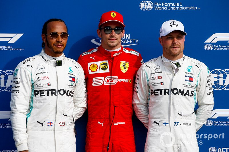 Polesitter Charles Leclerc, Ferrari SF90, secondo classificato Lewis Hamilton, Mercedes AMG F1, terzo classificato Valtteri Bottas, Mercedes AMG F1