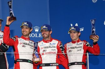 Podium: #1 Rebellion Racing Rebellion R13 - Gibson: Bruno Senna, Gustavo Menezes, Norman Nato