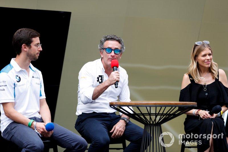Alexander Sims, Alejandro Agag and Nicki Shields speak to the media