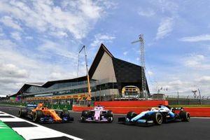 McLaren MCL34, Racing Point RP19 y Williams Racing FW42 en Silverstone