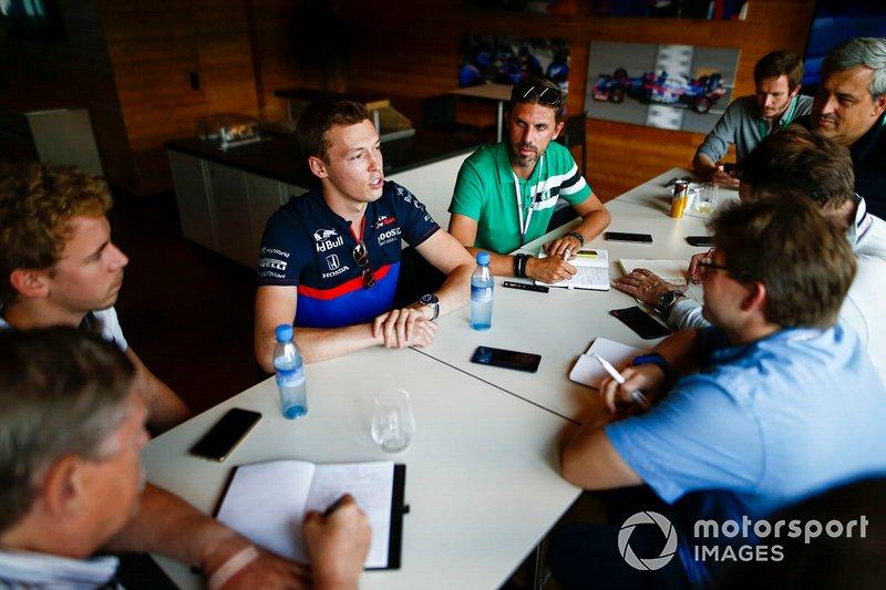 Daniil Kvyat, Toro Rosso, talks to media
