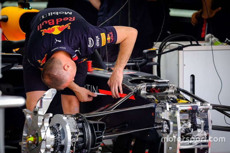 Red Bull Racing team member at work on the Red Bull Racing RB15