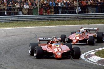 Gilles Villeneuve, Ferrari 126C2, precede Didier Pironi, Ferrari 126C2, al GP di San Marino del 1982