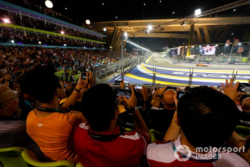 The view of the action from the grandstands