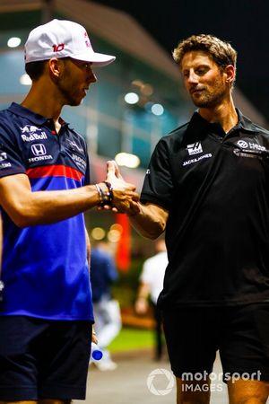Pierre Gasly, Toro Rosso, en Romain Grosjean, Haas F1 Team