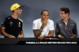 Daniel Ricciardo, Renault F1 Team, Lewis Hamilton, Mercedes AMG F1 and Lando Norris, McLaren in the Press Conference
