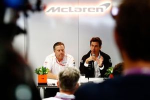 Zak Brown, Executive Director, McLaren, and Toto Wolff, Executive Director (Business), Mercedes AMG, host a press conference to announce McLaren's deal to run Mercedes engines from 2021