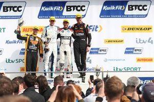 Podium, Colin Turkington, WSR BMW, Ash Sutton, Team BMR Subaru Levorg and Colin Turkington, WSR BMW