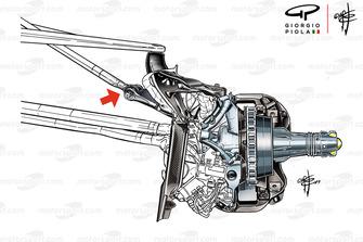 Mercedes AMG F1 W10, dettaglio del bracket della sospensione anteriore