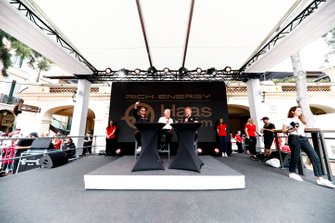 Romain Grosjean, Haas F1 and Kevin Magnussen, Haas F1 on stage in the fan zone