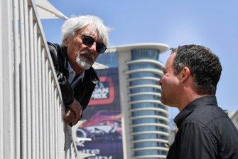 Bernie Ecclestone, Chairman Emiritus of Formula 1 and Ted Kravitz, Sky TV