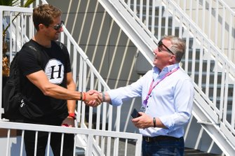 Romain Grosjean, Haas F1 and Johnny Herbert, Sky TV in the paddock