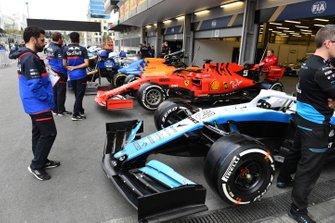 Cars of Robert Kubica, Williams FW42, Sebastian Vettel, Ferrari SF90 and Carlos Sainz Jr., McLaren MCL34 in scrutineering