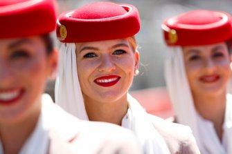 Emirates flight attendants on the grid