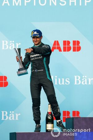 Mitch Evans, Panasonic Jaguar Racing, 2nd position, celebrates on the podium