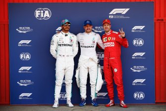 Top three Qualifiers, Lewis Hamilton, Mercedes AMG F1, pole man Valtteri Bottas, Mercedes AMG F1, and Sebastian Vettel, Ferrari
